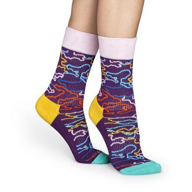Fialové ponožky Happy Socks s barevným vzorem Electric // kolekce Athletic