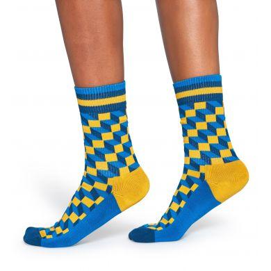 Modro-žluté ponožky Happy Socks se vzorem Filled Optic // kolekce Athletic