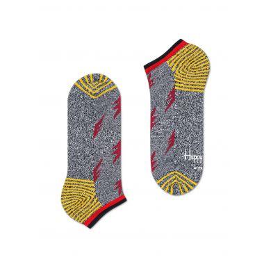 Nízké šedé ponožky Happy Socks s červenými blesky, vzor Flash // kolekce Athletic