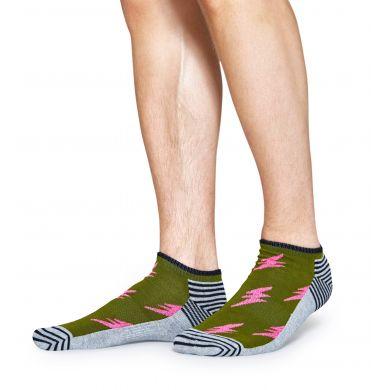Nízké zelené ponožky Happy Socks s růžovými blesky, vzor Flash // kolekce Athletic