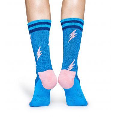Modré ponožky Happy Socks s růžovými blesky, vzor Flash // kolekce Athletic