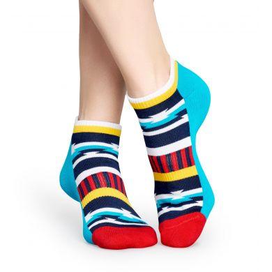 Nízké modré ponožky Happy Socks s barevným vzorem Inca // kolekce Athletic
