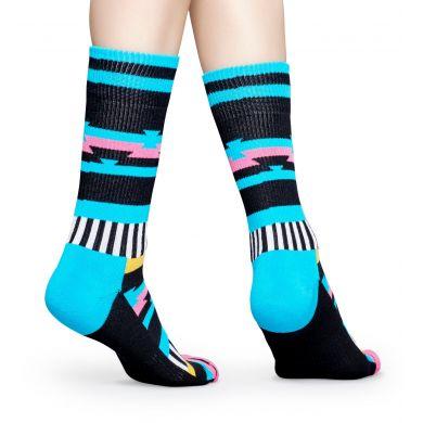 Černé ponožky Happy Socks s barevným vzorem Inca // kolekce Athletic