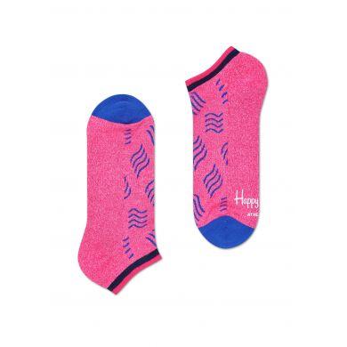 Nízké růžové ponožky Happy Socks s modrými vlnkami, vzor Mini Wave // kolekce Athletic