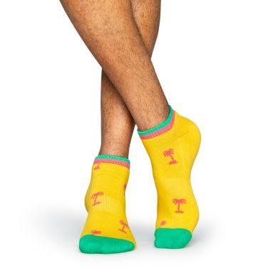 Nízké žluté ponožky Happy Socks s růžovými palmami, vzor Palm Beach // kolekce Athletic