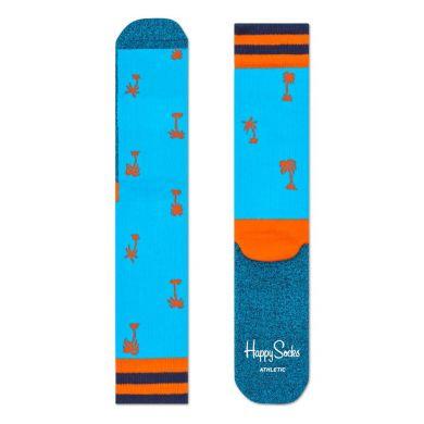 Modré ponožky Happy Socks s oranžovými palmami, vzor Palm Beach // kolekce Athletic