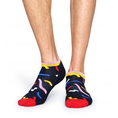 Nízké černé ponožky Happy Socks s barevným vzorem Papercut // kolekce Athletic