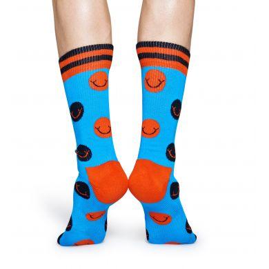 Tyrkysové ponožky Happy Socks s barevnými puntíky a smajlíky, vzor Smile // kolekce Athletic