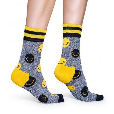 Šedé ponožky Happy Socks se žlutými puntíky a smajlíky, vzor Smile // kolekce Athletic