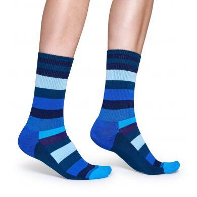 Modré pruhované ponožky Happy Socks, vzor Stripe // kolekce Athletic
