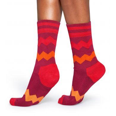 Červené ponožky Happy Socks se zubatými pruhy, vzor ZigZag Stripes // kolekce Athletic