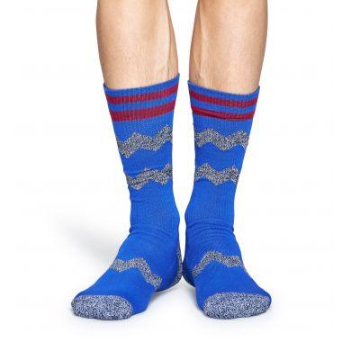 Modré ponožky Happy Socks s šedými zubatými pruhy, vzor ZigZag Stripes // kolekce Athletic