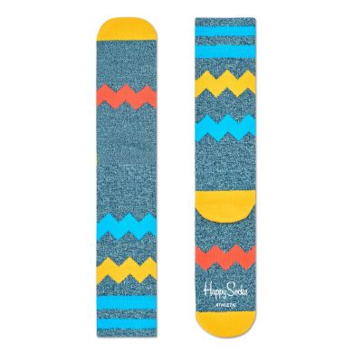 Šedomodré ponožky Happy Socks s barevnými zubatými pruhy, vzor ZigZag Stripes // kolekce Athletic