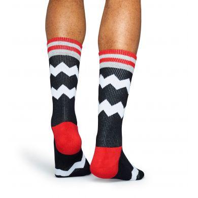Černé ponožky Happy Socks s bílými zubatými pruhy, vzor ZigZag Stripes // kolekce Athletic