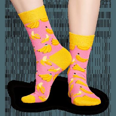 Růžové ponožky Happy Socks se žlutými banány, vzor Banana