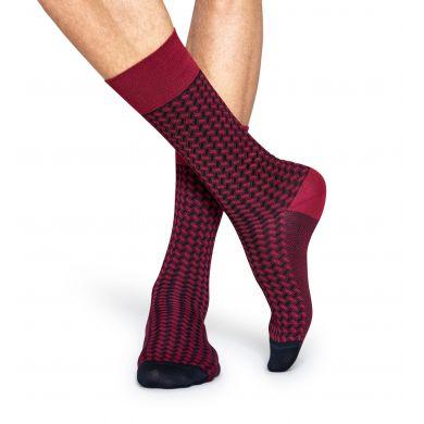 Červené ponožky Happy Socks, vzor Basket Weave // kolekce Dressed
