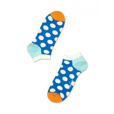 Nízké modré ponožky Happy Socks s bílými puntíky, vzor Big Dot