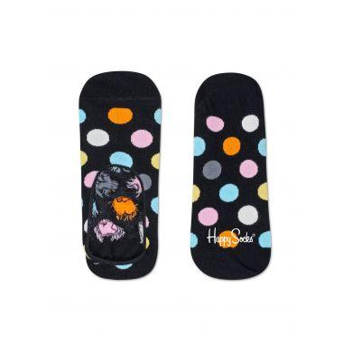 Černé nízké ponožky Happy Socks s barevnými puntíky, vzor Big Dot