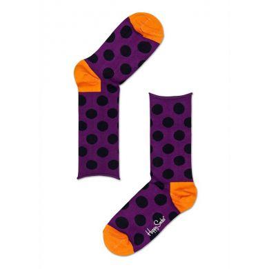 Fialové ponožky Happy Socks s černými puntíky, vzor Big Dot
