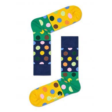 Modro-zelené ponožky Happy Socks s barevnými puntíky, vzor Big Dot Block