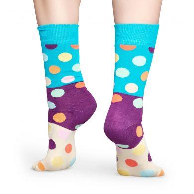 Tyrkysovo-béžové ponožky Happy Socks s barevnými puntíky, vzor Big Dot Block