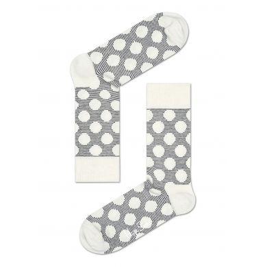 Šedé ponožky Happy Socks s bílými puntíky, vzor Big Dot
