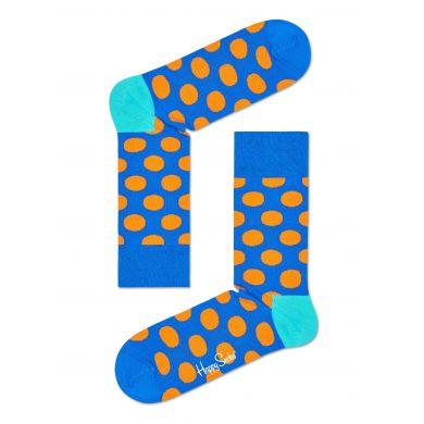 Modré ponožky Happy Socks s oranžovými puntíky, vzor Big Dot