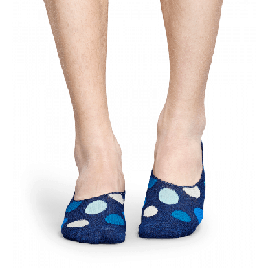 Modré nízké ponožky Happy Socks s barevnými puntíky, vzor Big Dot