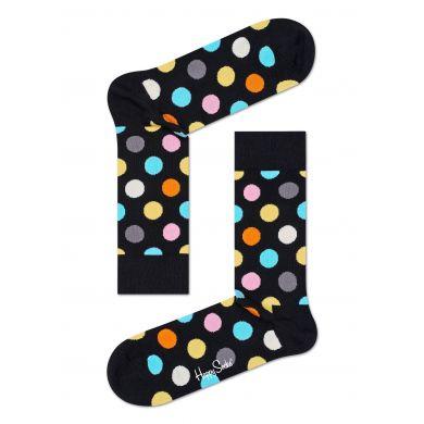 Černé ponožky Happy Socks s barevnými puntíky, vzor Big Dot - 2009 // 10 YEARS ANNIVERSARY