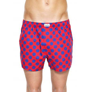 Červené trenýrky Happy Socks s modrými puntíky, vzor Big Dot