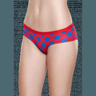 Červené kalhotky Happy Socks s modrými puntíky, vzor Big Dot