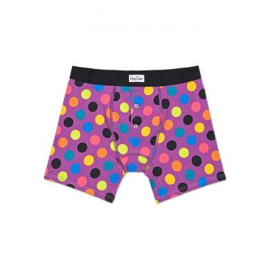 Fialové delší boxerky s knoflíčky Happy Socks s barevnými puntíky, vzor Big Dot
