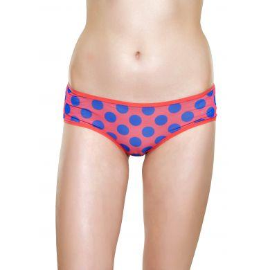 Červené mesh kalhotky Happy Socks s modrými puntíky, vzor Big Dot