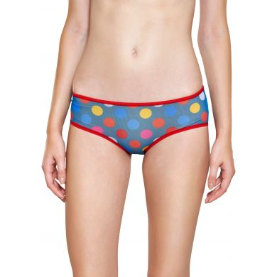 Modré mesh kalhotky Happy Socks s barevnými puntíky, vzor Big Dot