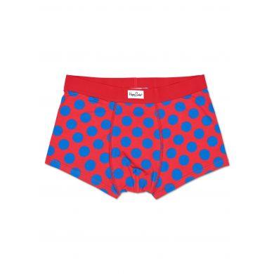 Červené boxerky Happy Socks s modrými puntíky, vzor Big Dot