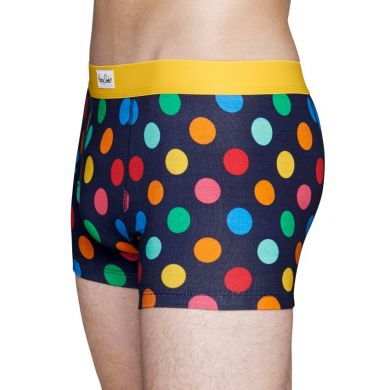 Modré boxerky Happy Socks s barevnými puntíky, vzor Big Dot