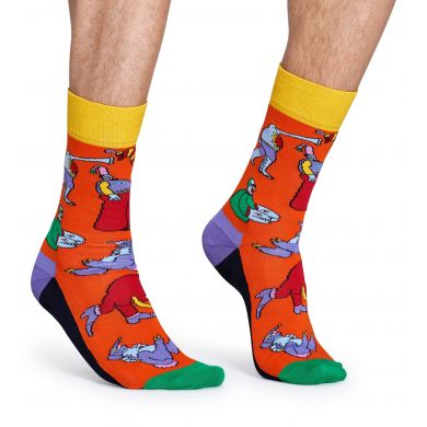 Oranžové ponožky Happy Socks s barevnými příšerami, vzor Monsters x The Beatles