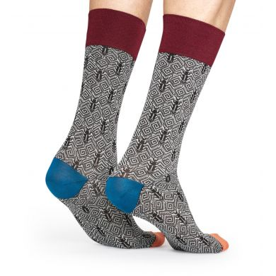 Šedé ponožky Happy Socks, vzor Beetle // kolekce Dressed