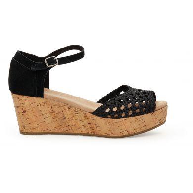 Černé dámské saténové sandálky na klínku TOMS