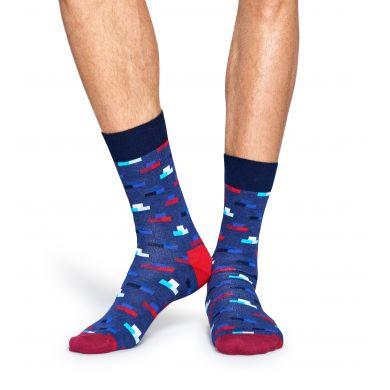 Modré ponožky Happy Socks s barevnými cihlami, vzor Bricks