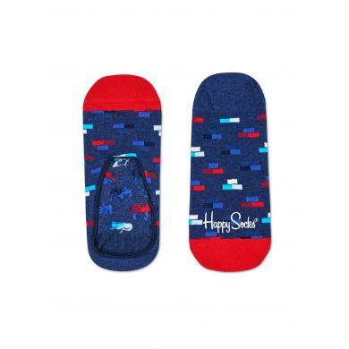 Modré nízké vykrojené ponožky Happy Socks s barevnými cihlami, vzor Bricks