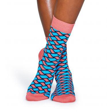 Modro-růžové ponožky Happy Socks, vzor Basket
