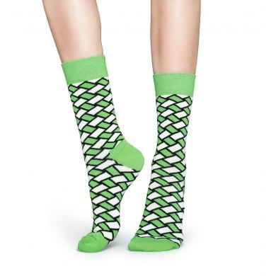 Zeleno-bílé ponožky Happy Socks, vzor Basket