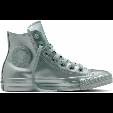 Stříbrné Converse Chuck Taylor All Star Metallic Rubber Hi