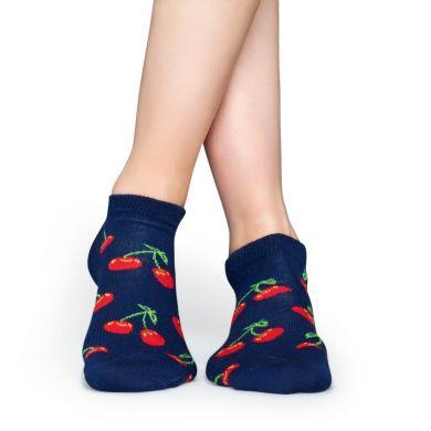 Nízké modré ponožky Happy Socks s červenými třešničkami, vzor Cherry