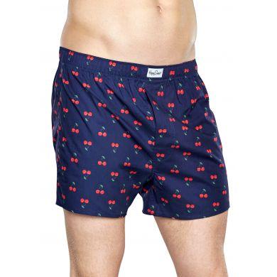 Modré trenýrky Happy Socks s červenými třešničkami, vzor Cherry