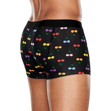 Černé boxerky Happy Socks s barevnými třešničkami, vzor Cherry