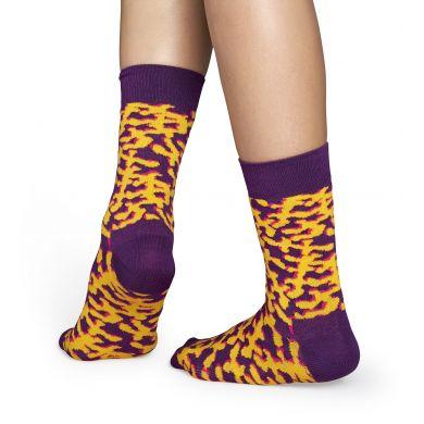 Fialové ponožky se žlutým vzorem Coral