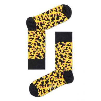 Černé ponožky Happy Socks se žlutým vzorem Coral