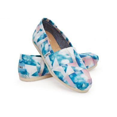 Modrobílé dámské saténové TOMS Cloud Alpargatas